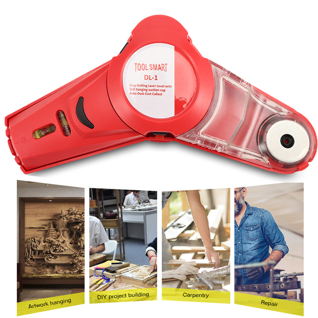 Drill Buddy Cordless Dust Collector With Laser Level And Bubble Vial