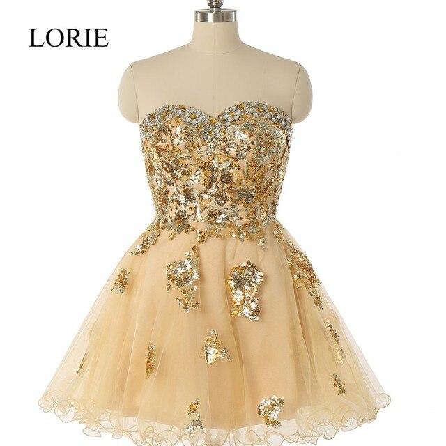 Sparking Gold Pailletten Short Prom Kleider 2017 Robe De Soiree ...