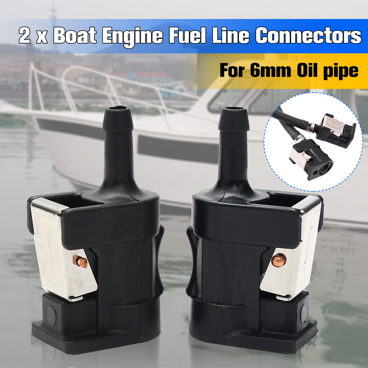 2Pcs Black Plastic 2.1x3.3x6.1cm Fuel Line Tank Connector for Yamaha Outboard Motor Engine 6mm Hose Arrow Marked On Body цена и фото
