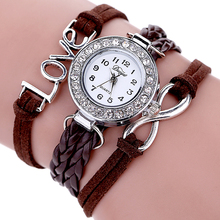 Jewelry Fashion Table Contracted Letters Numbers Female Diamond Encrusted Bracelet Leather Braid Quartz Watches