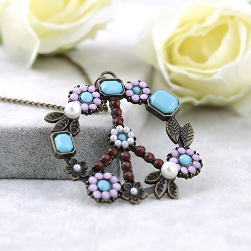 Women Vintage Flower Peace Sign Pendant Long Chain Sweater Necklace Jewelry