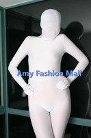 2017 vente Chaude lycra spandex blanc non-brillant fétiche zentai costume complet du corps collants