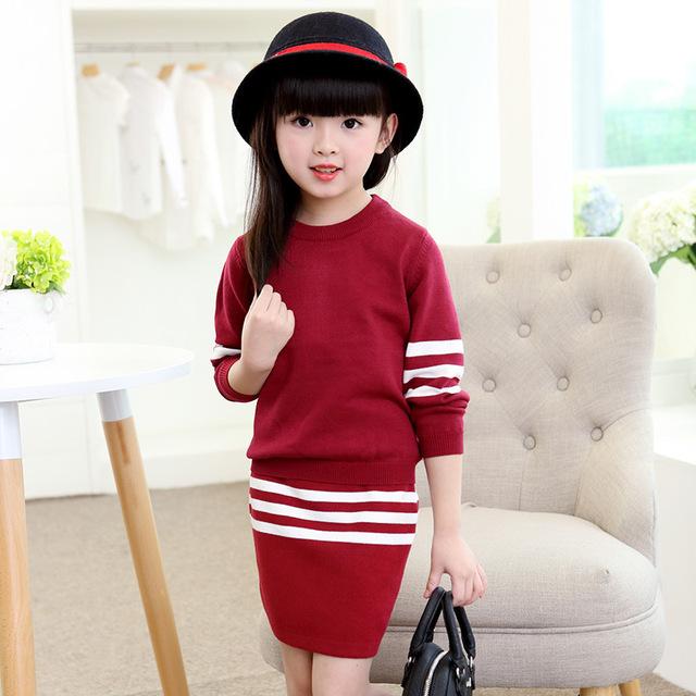 2016 otoño nueva chica traje versión Coreana de los grandes niños de rayas de punto ocasional de moda falda