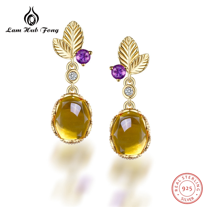Gemstone Earrings Natural Citrine Earrings Pure 925 Sterling Silver Leaf Earrings For Women Fine Jewelry Wedding Gift artificial gemstone leaf teardrop earrings