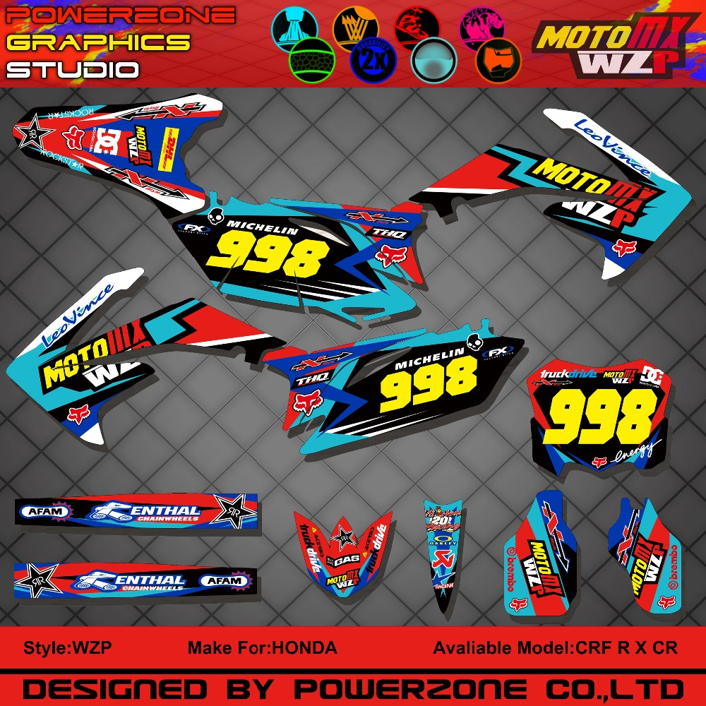CRF250 CRF450 CR250F X CR450F CR Customized Team Graphics Backgrounds Decals 3M Stickers Motorcycle Dirt Bike MX Racing Parts