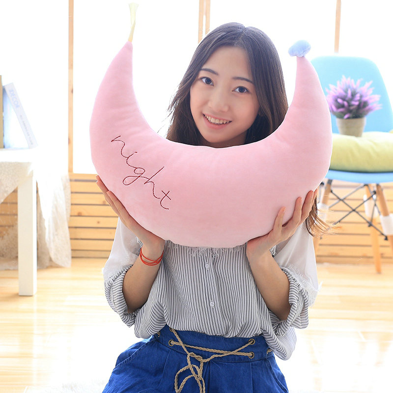 Kawaii Baby Appease Doll Creative Sofa Cushion Girls Gift 45cm Cartoon pink/blue Star/Moon Plush Pillows Staffed Soft Cushion