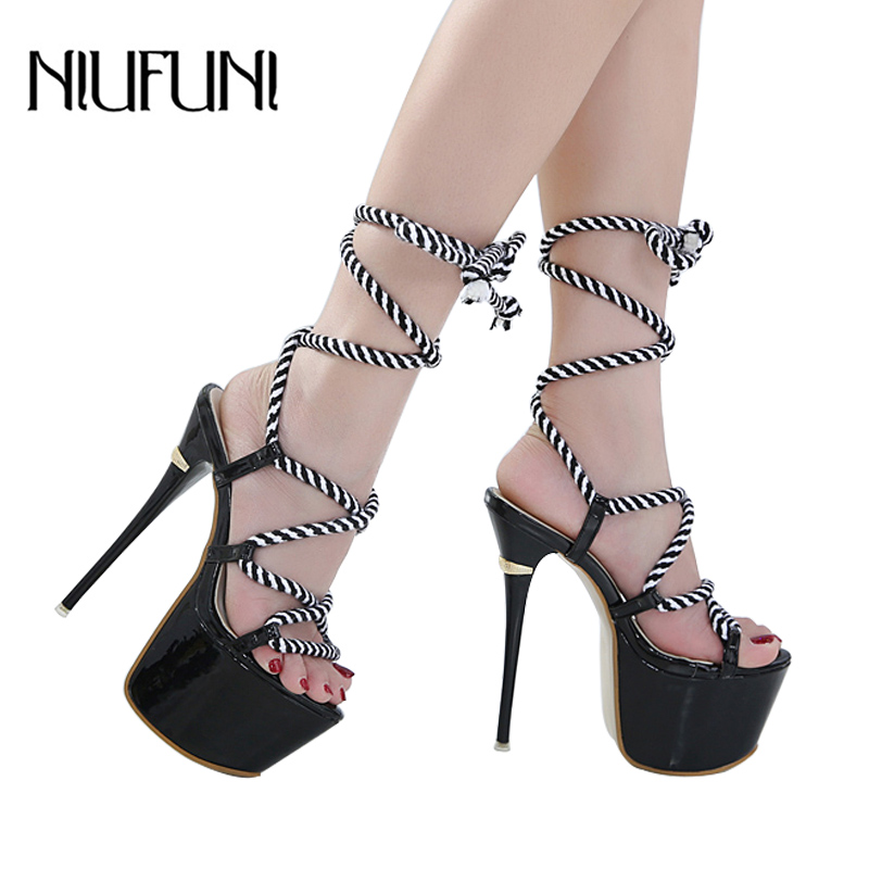 8c9bc76c0466 Detail Feedback Questions about 16cm High Heels Sexy Sandals 7cm Platform  Height Nightclub Women Shoes with Striped Rope Size 34 40 on Aliexpress.com  ...