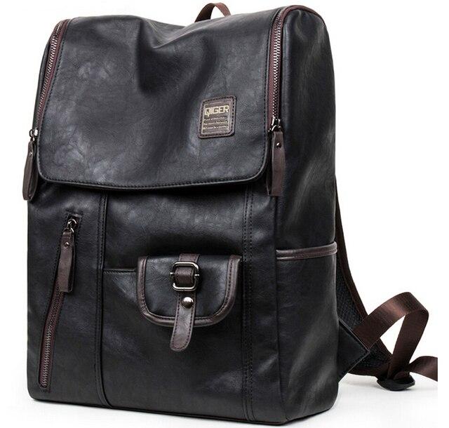 2016 nova masculino pu de couro bolsa de ombro bolsa de estudante mochila sacos de livro de moda Europeus e Americanos retro saco ocasional