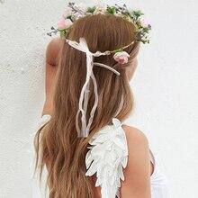 Pink Flowers Fresh Style New Wedding Bride Tiaras Crown Headband Hair Comb Clips