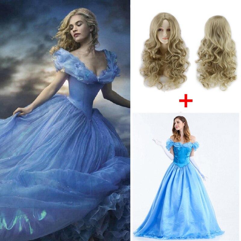 Movie Cinderella Princess Dress Cute Cosplay Women's Halloween Party Cosplay Princess Costume Cinderella Costume With Wig