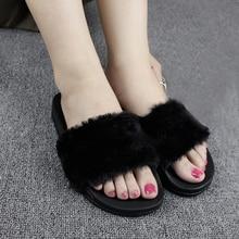 Slippers Women Zapatos Mujer Lady Slip on Sliders Fluffy Faux Fur Flat Fashion Female Casual Slipper Flip Flop Flat Shoes Women faux pearl espadrille flatform sliders
