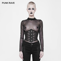 PUNK RAVE Women's Punk Rock Leather Belts Cosplay Lacing Steampunk Sexy Waistband Girdle Gothic Visual Kei Accessories