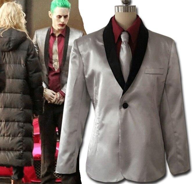Batman Suicide Squad Joker Cosplay Costume Suit Men Clown Jared Leto Silver Coat Psychos Killers Suit wig