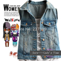 2016 Women's Turn-down Collar Frayed Personalized Cardigans Lady Denim Jean Vests Coats Free Shipping JV079222