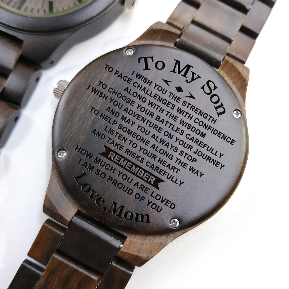 Z1800-3 To My Son-Engraved Wooden Watch Customized Men Watch Luxury On The Watch Birthday Graduation Gifts Wrist Watch