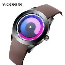 Nuevo Diseño Creativo relojes Futurista hombres mujeres reloj de cuarzo resistente al agua WOONUN marca moda casual reloj reloj único