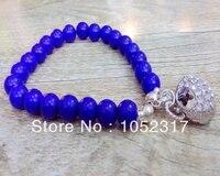Groothandel 6 stks Blauw Lapis Lazuli Bead Dangle Shining Rhinestone Leuke Tas Hanger Armband Verstelbare
