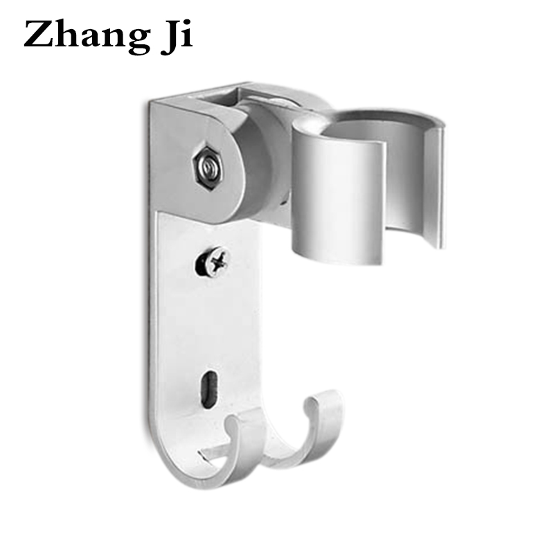 ZhangJi Aluminum Adjustable Shower Head Holder Bathroom Accessories Metal Showerheads Bracket With Hook New Shower Holder zebra print shower curtain 1pc with hook 12pcs