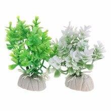 1 шт. аквариумные растения для аквариума, украшение для аквариума, пластиковые искусственные зеленые бело-зеленые травы, Подводные украшения аквариума C42