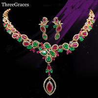 18k Gold Plated Multi Color CZ Diamond Big Dangling Necklace African Nigerian Design Bridal Jewelry Sets