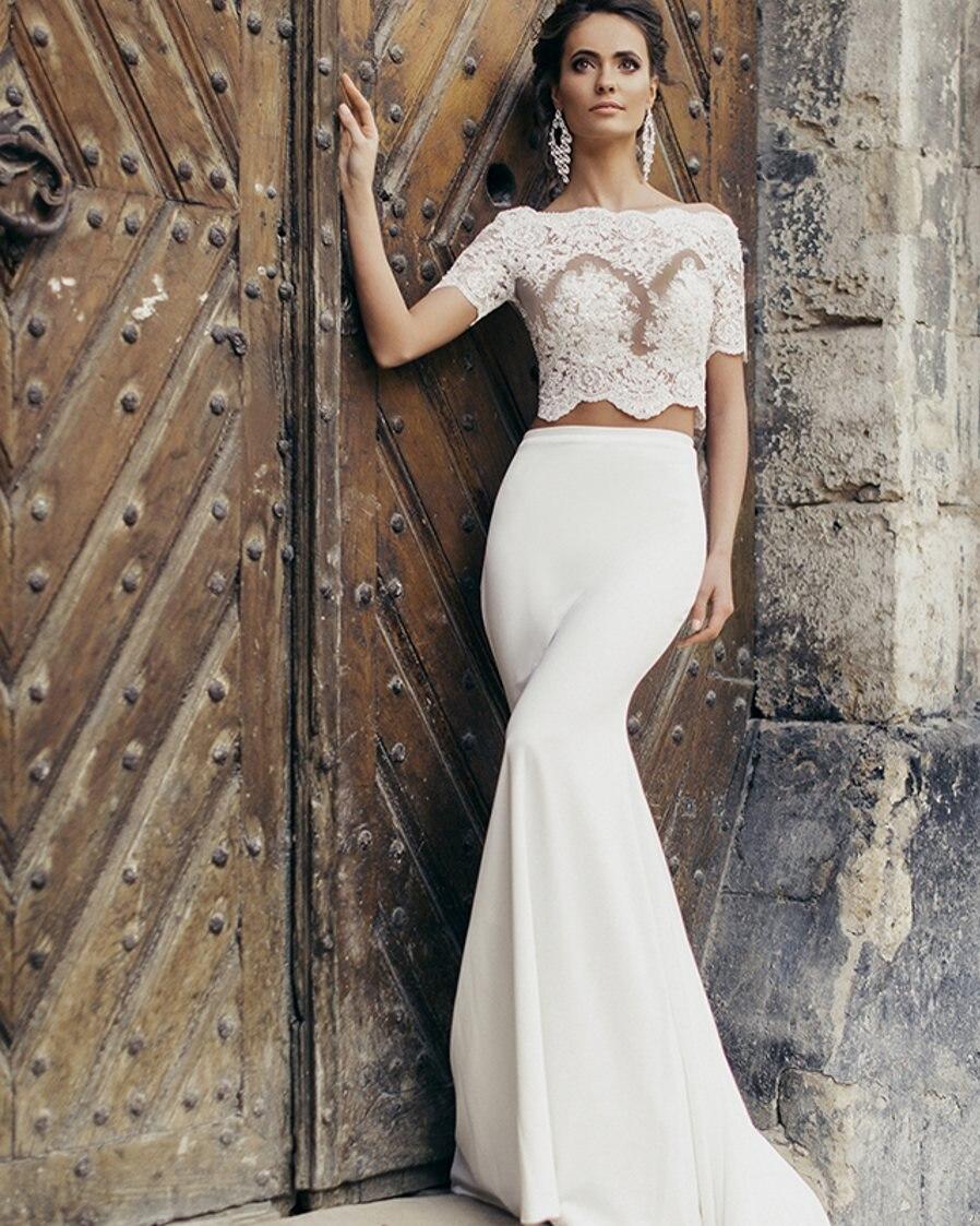 vestido de noiva sereia hippie style boho short sleeve sexy