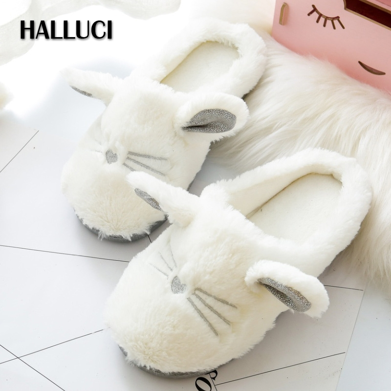 HALLUCI  Sweet plush home slippers women shoes chinelo cute slippers cotton pantufa sapatos mulher soft bottom zapatos mujer halluci breathable sweet cotton candy color home slippers women shoes princess pink slides flip flops mules bedroom slippers