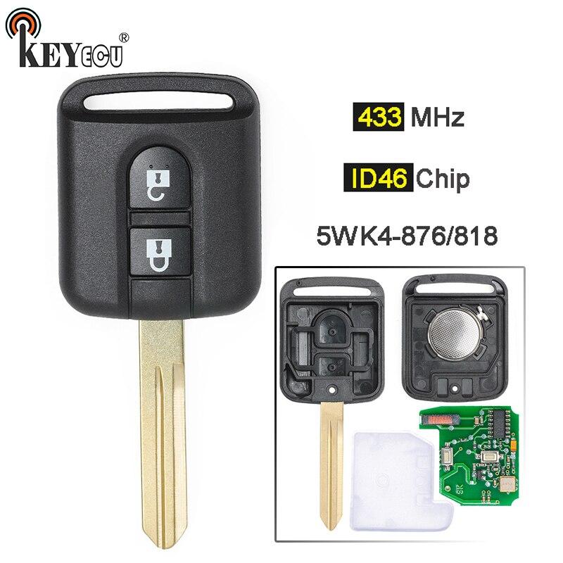 KEYECU 433MHz ID46 PCF7946 Chip 2 Botão Fob Chave Remoto Para Nissan Elgrand X-TRAIL Navara Qashqai Micra Nota NV200 5WK4 876/818
