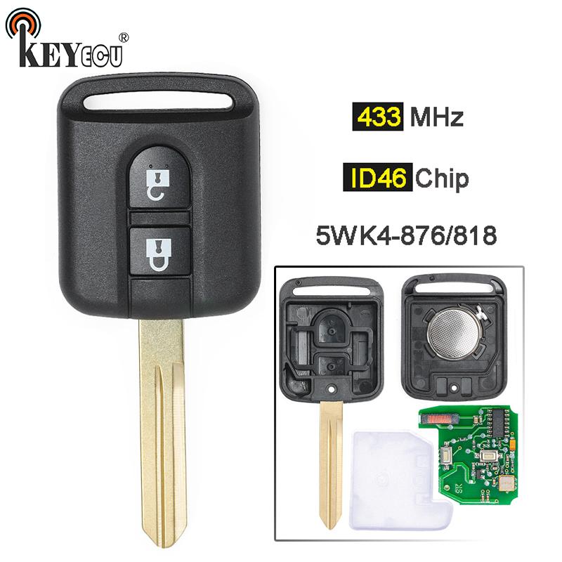 KEYECU 433MHz ID46 PCF7946 Chip 2 Button Remote Key Fob For Nissan Note NV200 Elgrand X-TRAIL Qashqai Navara Micra 5WK4 876/ 818