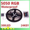 5050 5M Waterproof RGB LED Flexible Strip 300LEDs + 24Key IR Remote Controller  Free Shipping