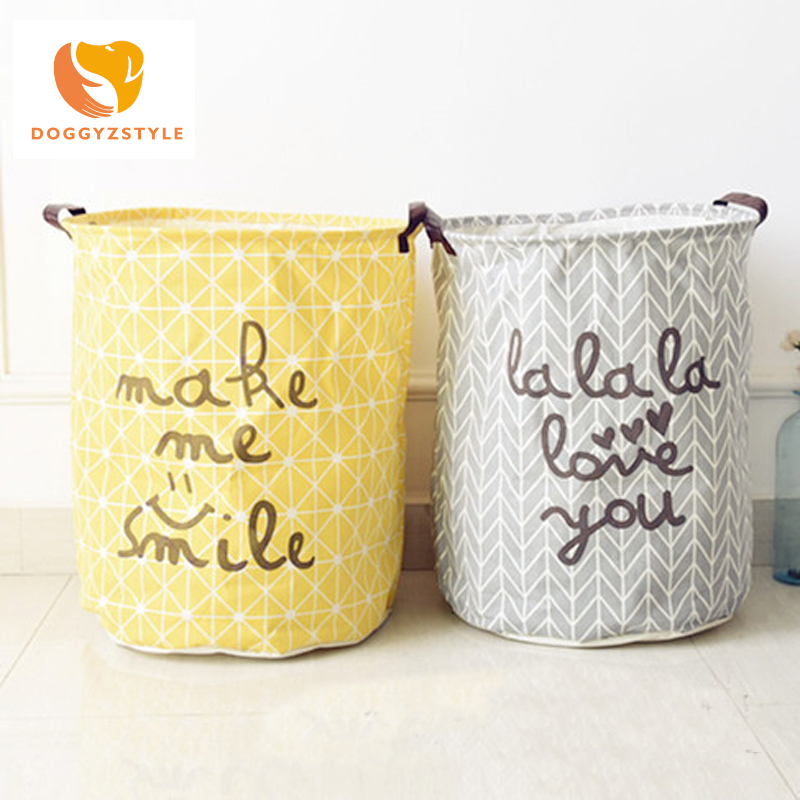 DOGGYZSTYLE Cotton cloth Laundry Storage Buckets Bags Foldable Bathroom Dirty Clothes Kids Toy Storage Basket Gray Yellow colors
