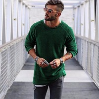 Men Sweater Autumn Winter Knitted Solid Simply Style Pullovers Casual Loose Cotton O Neck Sweater Jumpers