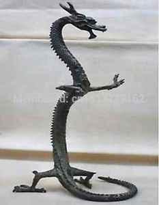 """WBY 42 cm exquisite bronze estátua de dragão Chinês Figuras 17 """"Height cozinhar ferramentas de Bronze cigarro mais leve decoração do casamento"""