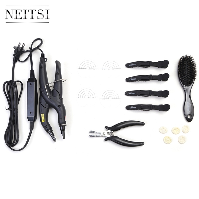 Neitsi Hair Extensions Connector Temperature Control & Hair Iron Tools(Pier, Brush, U Tips, Heat Protector Shield, Hair Clips)