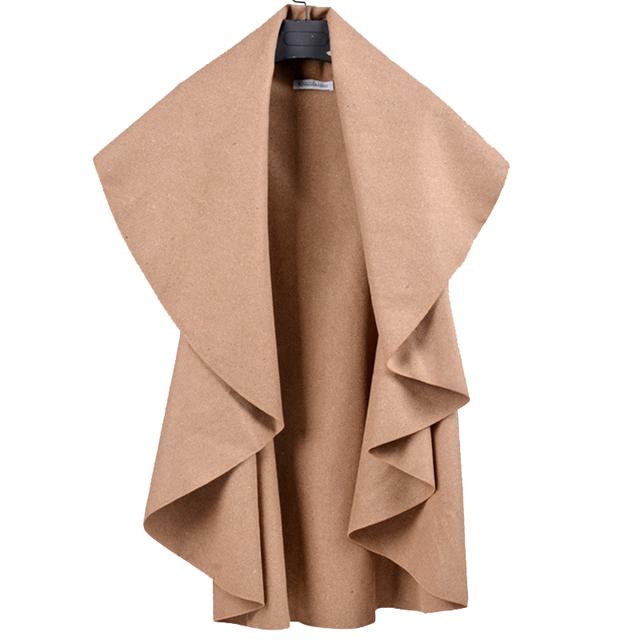 2016 Mejores Productos Hembra Elegante Abrigo Grande de Europa Nueva y Tamaño de Las Mujeres Ropa Americana Mujer V-cuello Sólido Gris