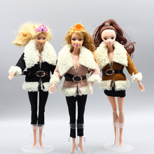 Fashion coat cotton for dolls winter clothing toy 1/6 BJD doll clothes accessories jacket plush cloak girl toy e ting handmade fashion doll clothes winter clothing rose coat jacket skinny star print jean girls suit for barbie accessories