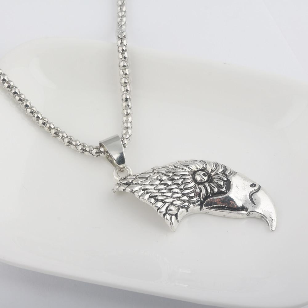 SG Fashion Punk Jewelry Vintage Moved Eagle Head Pendant Necklaces Zinc Alloy Antique Silver Choker For Men Women Souvenir Gift