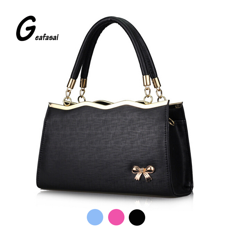 blue black rose red bowknot bow PU leather High quality Ladies top handle Handbags shoulder Messenger