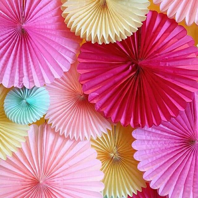 Decorative Wedding Paper Crafts 16inch 40cm Flower Origami Paper Fan DIY Wedding Birthday Party Babyshow Decoration Pinwheels