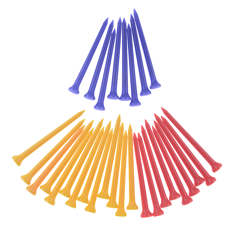 30 Pcs/Pack Plastic Golf Tees Multi Color 8.3CM Durable Rubber Cushion Top Golf Tee Golf Accessories