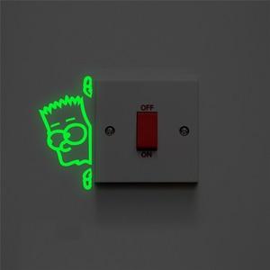 Cartoon Peep Boy Switch Luminous Decals Bedroom Home Decorations Glow In The Dark Wall Stickers Fluorescent Vinyl Wallpaper