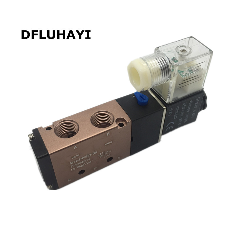 4V210-08 2/5 way Pneumatic valve solenoid valve Air distributor 1/4 24VDC 220VAC air control valve for chevrolet cruze captiva sport camaro sonic spark equinox 2013 2014 2015 h8 car led fog lamp 100w daytime running light bulb