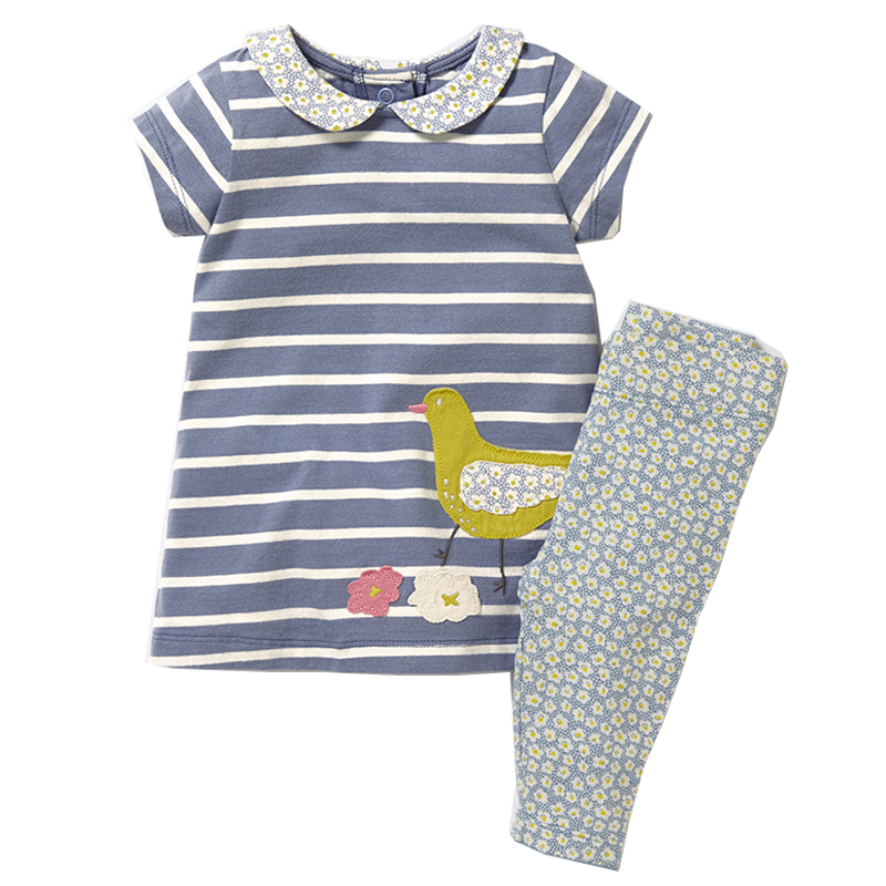 Girls Set with Applique Animal Dress & Leggings 2017 Brand Cotton Children Clothing Kids Summer Clothes Sets Baby Girl Outfit little maven children clothing 2017 new summer baby girls brand clothes kids cotton dot pocket dress s0135