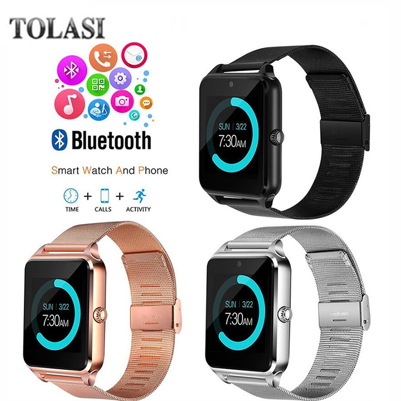 TOLASI Smart Watch Z60 Men Women Bluetooth Wrist Smartwatch Support SIM/TF Card Wristwatch For Apple Android Phone PK DZ09