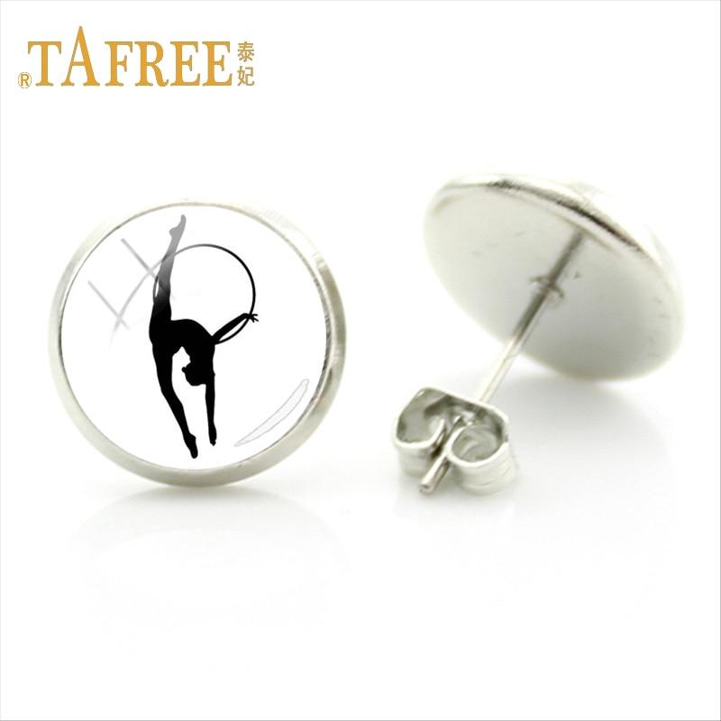 TAFREE fashion I Love Gymnastics Stud Earrings women men jewelry Love Gymnastics charms Glass Dome Stud Earrings Jewelry GY209