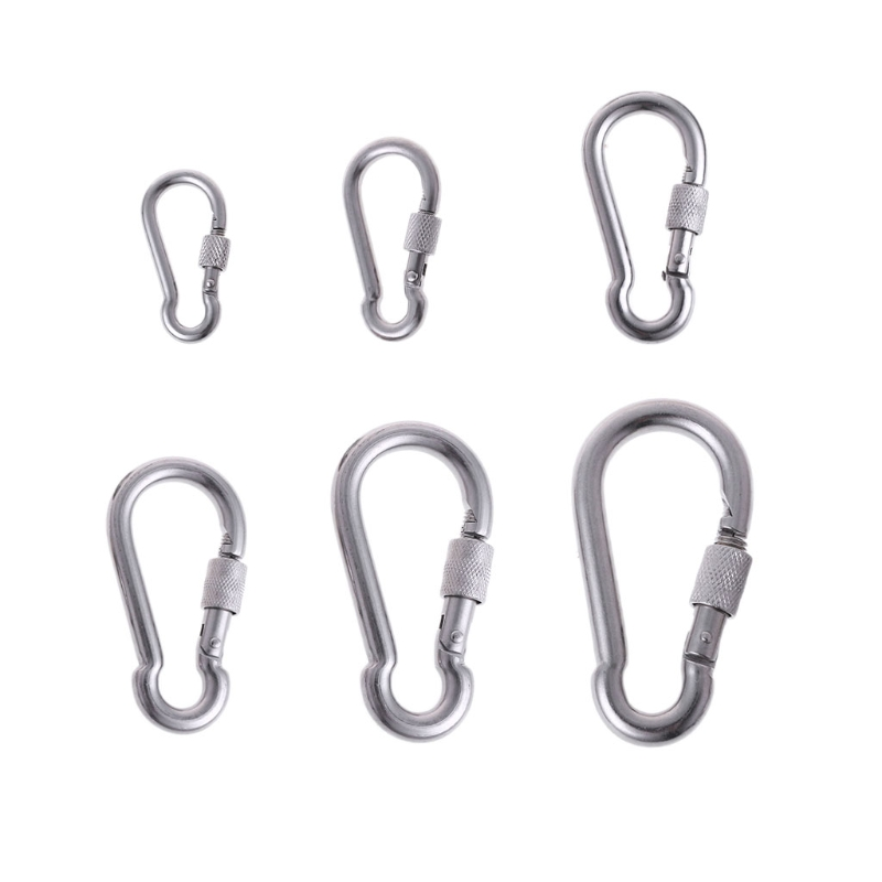 Stainless Steel Carabiner With Screw Lock Snap Hook Safety Buckle EDC Keychain 10166