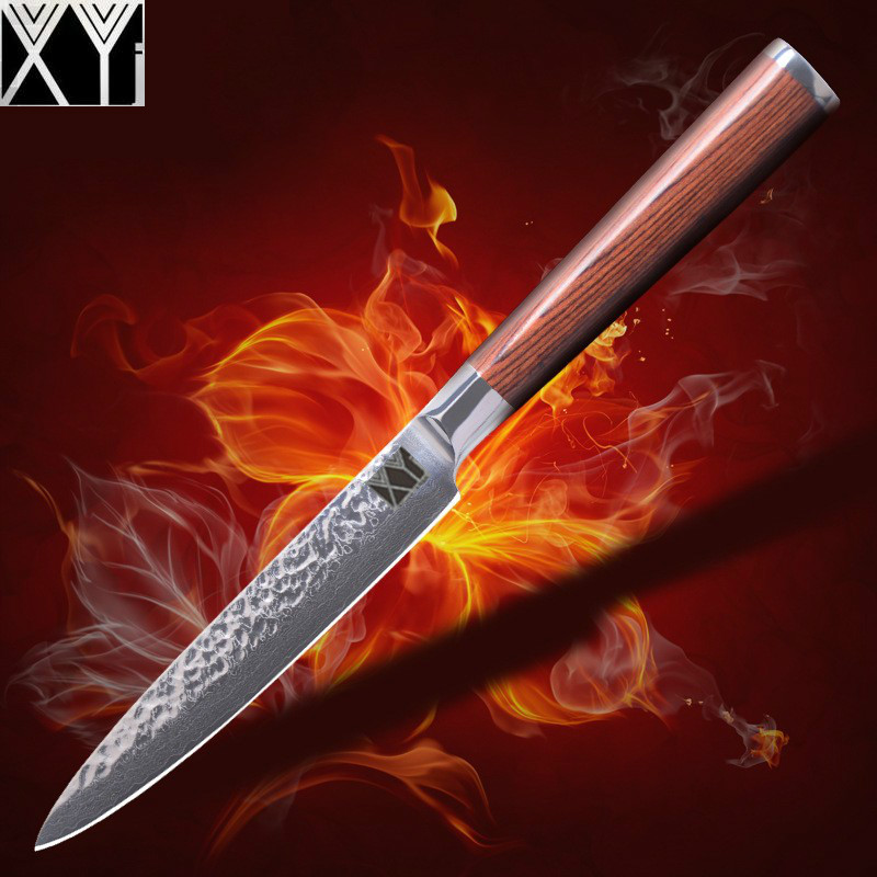 Slicing knife 5 inch Damascus steel knife Utility Knives high color wood handle kitchen knife