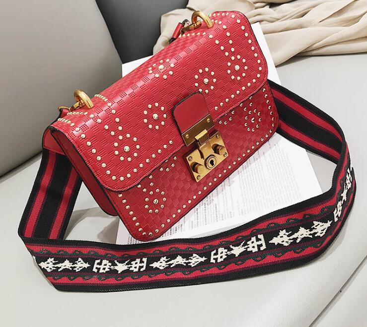 Wide Strap Rivets Trendy Lady Flap Women Shoulder Bag #2311 Fashion Woman Crossbody Bag Female Gift