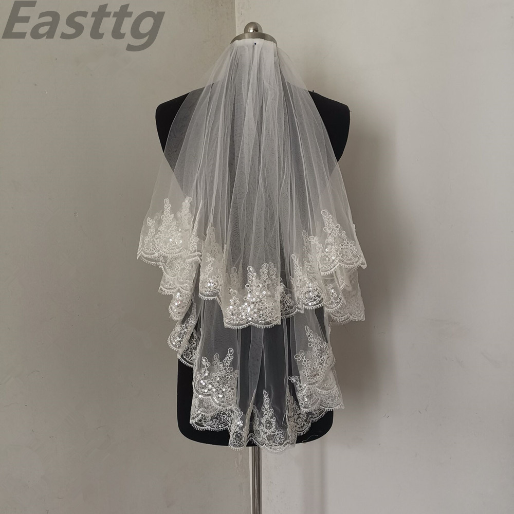 Easttg White Ivory Fashion Two Layer Bridal Veil Tulle Wedding Veils With Comb Lace Edge Wedding Accessories Veu De Noiva
