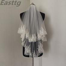 Easttg модная двухслойная свадебная фата с гребнем и кружевными