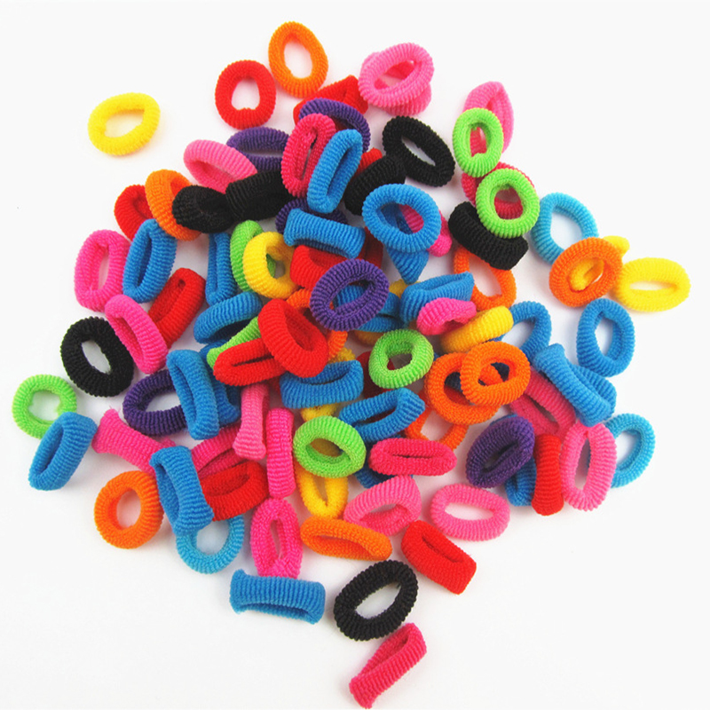 100 Pcs Colorful Rainbow Cute Hair Band Ponytail Holders For Girl Women High Elastic Rubber HairBands